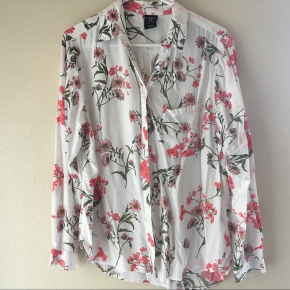 c99c01c0256d61 George Tops   White Floral Long Sleeve Button Down Rayon Blouse ...